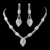 Beautiful Drop Rhinestone Wedding Necklace Set - SPECIAL