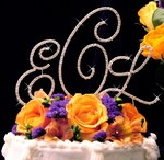 Beautiful, Elegant 3pc set Full Crystal Rennaissance Monogram Cake Topper