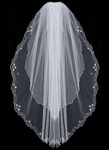 Beautiful embroidered two tier beaded bridal veil - SALE
