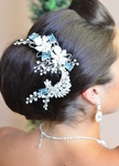 Celeste - Designer collection blue crystal wedding hair clip  - sale