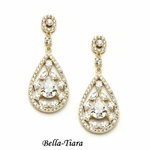 NEW! Beautiful Gold CZ Mosaic Teardrop Earrings