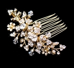 Beautiful Gold Floral and Crystal Bridal Hair Comb