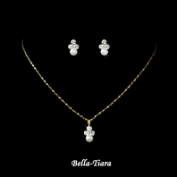 Beautiful Gold Ivory Flower Girl Necklace Set