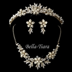Beautiful gold ivory tiara and necklace set - SALE