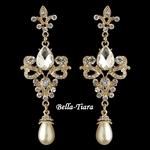 Beautiful Gold Rhinestone & Diamond White Pearl Dangle Earrings