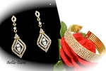 Beautiful gold vintage swarovski earrings and bracelet set - SPECIAL
