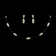 Beautiful illusion pearl and crystal necklace set
