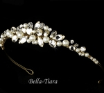 Beautiful ivory pearl gold wedding headpiece tiara