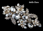Salandia - STUNNING Light Gold Freshwater Pearl Crysta Hair Clip