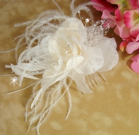 BEAUTIFUL Light Ivory Champagne Bridal Hair Flower - SALE!!!