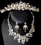 Beautiful - Pearl Bridal Hair Comb Tiara & Jewelry Set
