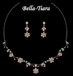 Beautiful Pink Crystal Communion Necklace Set