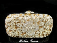 Beautiful romantic gold or silver rose crystal clutch purse - SPECIAL