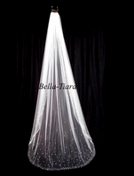 Pamela - BEAUTIFUL Scattered crystal cathedral veil - FREE BLUSHER