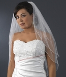 Beautiful scattered pearl and crystal 2-tier veil