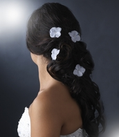 Beautiful set of 2 Single Soft Sheer White Flower hair pin