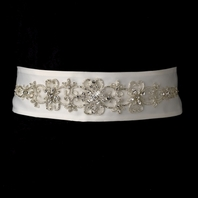 Beautiful silver beaded bridal belt sash - Sale!!