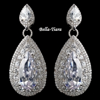 Beautiful Silver Clear Teardrop CZ Drop Earrings