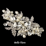 NEW!! Beautiful Silver Rhinestone & Freshwater Pearl Leaf Hair Clip