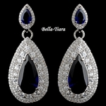 Beautiful Silver Sapphire Teardrop CZ Drop Earrings