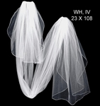 Beautiful two tier ivory rhinestone edge cathedral wedding veil - SPECIAL one left