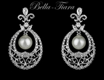 Beautiful vintage filigree pearl cz wedding earrings - SALE