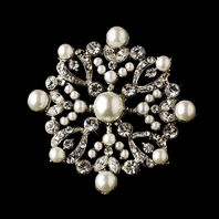 Beautiful vintage off white pearl wedding brooch - SALE