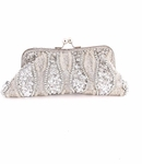 Beautiful vintage silver pearl beaded wedding purse - SALE