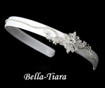 Beautiful white ribbon with crystal communion headband - SALE