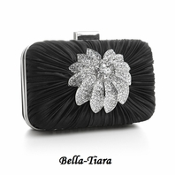 NEW!! Bejeweled Black Satin Wedding Evening Bag