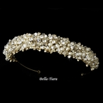 Hazel - Couture Swarovski crystal and ivory pearl gold wedding tiara headband - SALE