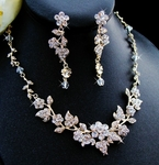 Bellasposa - Elegant Gold Floral wedding Necklace Set - sale