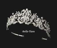 Belle - ROYAL stunning crystal bridal crown tiara -  SALE