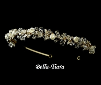 Bellini - Stunning Gold Clear Crystal & Ivory Flower Headpiece