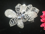 Benedetta- Gorgeous silver off white crystal flower hair comb- SALE!!
