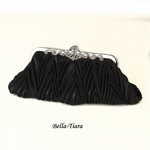 Black Satin Evening Bag with Rhinestone Accented Vintage Frame