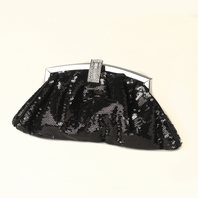 Black Sequin & Rhinestone Evening Bag  - SALE