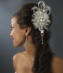 Boutique Vintage Style Feather Flower Hair Comb  -- SALE!!