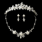 Breathless -- Pearl & Crystal Necklace Earring & Tiara Set