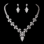 BREATHTAKING Cubic Zirconia Leaf Bridal Necklace Set - SALE