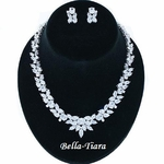 C/Z Diamond Cut vine Bridal Necklace Earring Set  - SPECIAL