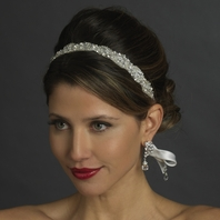 California - Crystal & Pearl Bridal Ribbon Headband