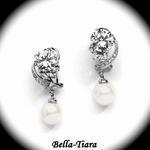 Captivating CZ Wedding Earrings with Pearl Drops