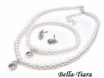 Carina - Beautiful flowergirl or communion pearl necklace set - SPECIAL