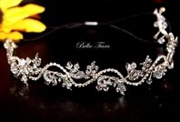 Carmen - Delicate crystal bridal headband hair vine - SALE