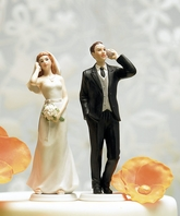 Cell Phone Fanatic Bride and Groom Cake Toppers
