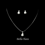 Chiara - Beautiful elegant pearl rhinestone drop communion necklace set - SALE