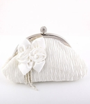Chiara - Romantic white satin with rose wedding purse - SPECIAL