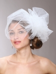 Chic Designer Bouffant-Style Side Wedding Veil - SPECIAL