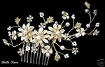 Cindy-Pearl gold Champagne Dreams Bridal Comb